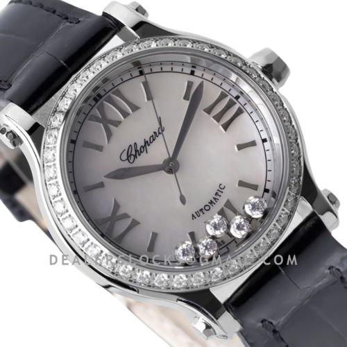 Happy Sport Automatic 33mm MOP Dial with Diamond Bezel in Steel on Black Leather Strap