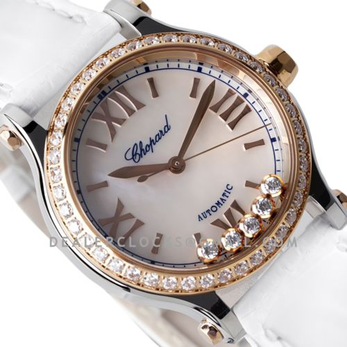 Happy Sport Automatic 33mm MOP Dial with Diamond Bezel in Steel/Rose Gold on White Leather Strap