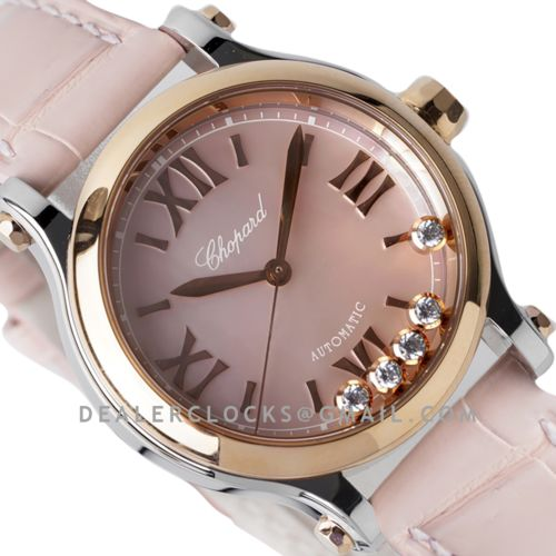 Happy Sport Automatic 33mm Pink MOP Dial in Steel/Rose Gold on Pink Leather Strap