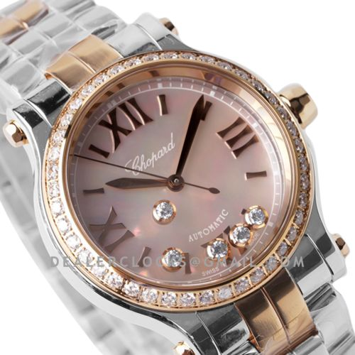 Happy Sport Automatic 33mm Pink MOP Dial with Diamond Bezel in Steel/Rose Gold