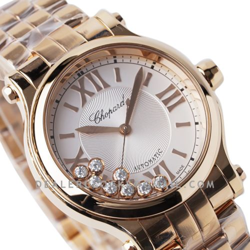 Happy Sport Automatic 33mm White Dial in Rose Gold