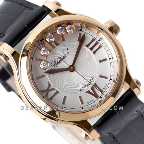 Happy Sport Automatic 33mm White Dial in Rose Gold on Black Leather Strap