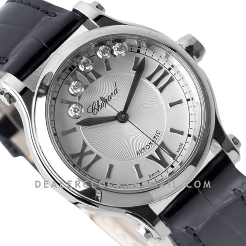 Happy Sport Automatic 33mm White Dial in Steel on Black Leather Strap