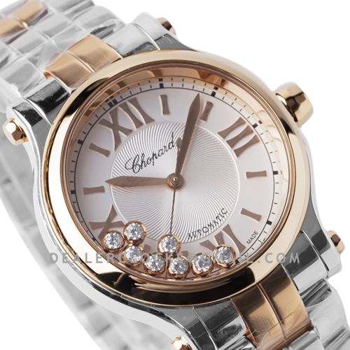 Happy Sport Automatic 33mm White Dial in Steel/Rose Gold