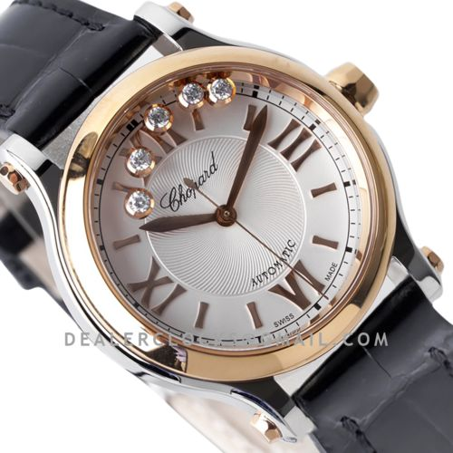 Happy Sport Automatic 33mm White Dial in Steel/Rose Gold on Black Leather Strap