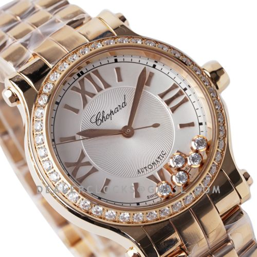 Happy Sport Automatic 33mm White Dial with Diamond Bezel in Rose Gold