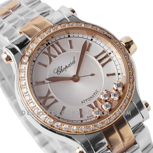 Happy Sport Automatic 33mm White Dial with Diamond Bezel in Steel/Rose Gold