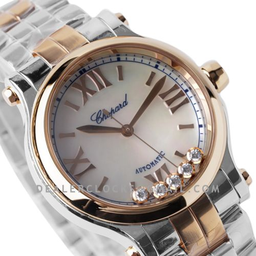 Happy Sport Automatic 33mm White MOP Dial in Steel/Rose Gold