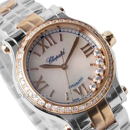 Happy Sport Automatic 33mm White MOP Dial with Diamond Bezel in Steel/Rose Gold