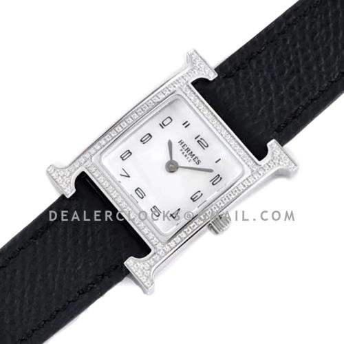Heure H 21mm MOP Dial in Steel with Diamond Bezel on Black Epsom Leather Strap