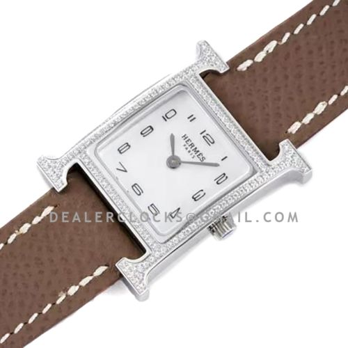 Heure H 21mm MOP Dial in Steel with Diamond Bezel on Dark Brown Espom Leather Strap