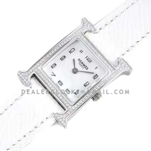 Heure H 21mm MOP Dial in Steel with Diamond Bezel on White Epsom Leather Strap