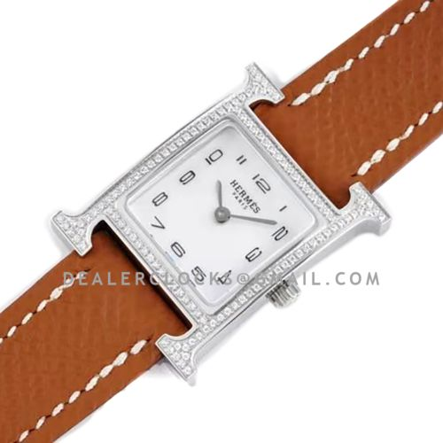 Heure H 21mm MOP Dial in Steel with Diamond Bezel on Brown Espom Leather Strap