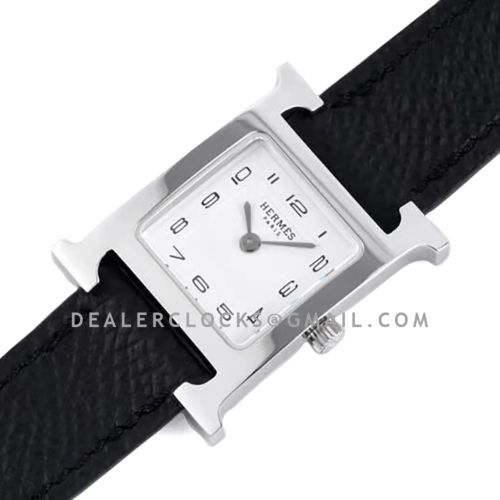 Heure H 21mm White Dial in Steel on Black Epsom Leather Strap