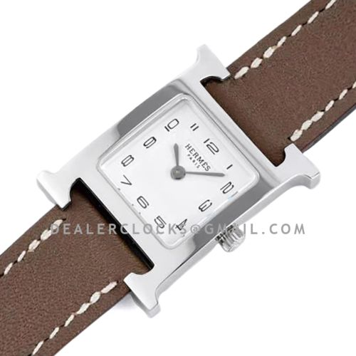 Heure H 21mm White Dial in Steel on Brown Leather Strap