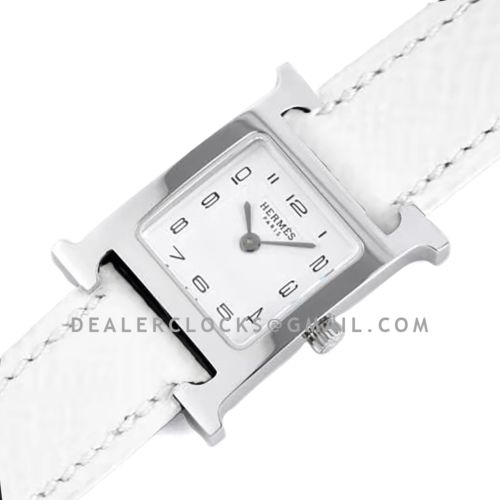 Heure H 21mm White Dial in Steel on White Epsom Leather Strap