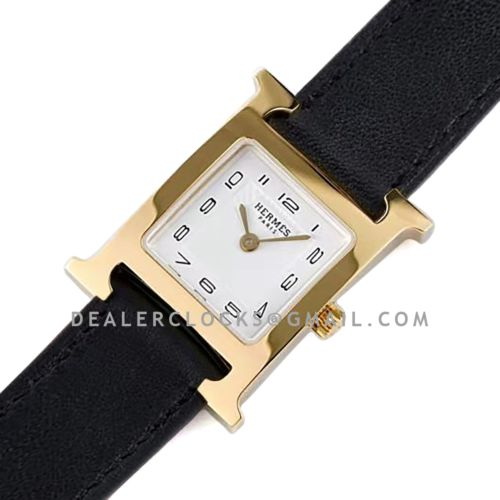 Heure H 21mm White Dial in Yellow Gold on Black Epsom Leather Strap