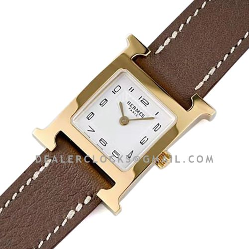 Heure H 21mm White Dial in Yellow Gold on Brown Epsom Leather Strap