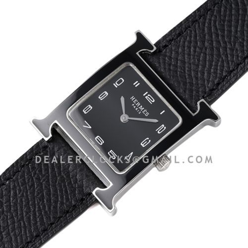 Heure H 26mm Black Dial in PVD on Black Leather Strap