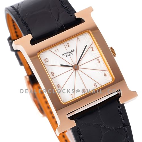 Heure H 26mm Circa 2000 White Dial in Rose Gold on Black Leather Strap