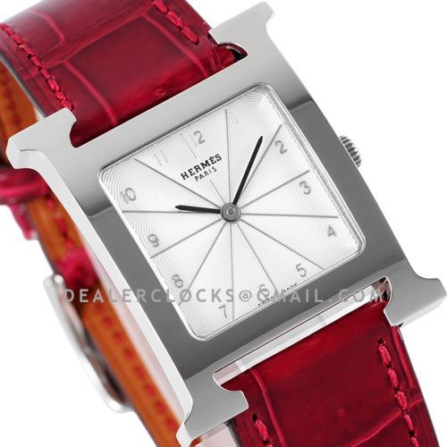 Heure H 26mm Circa 2000 White Dial in Steel on Red Leather Strap