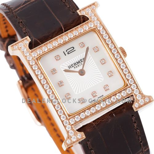 Heure H 26mm MOP Dial in Rose Gold on Brown Leather Strap