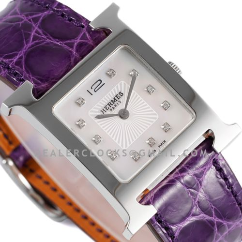 Heure H 26mm MOP Dial in Steel on Violet Leather Strap