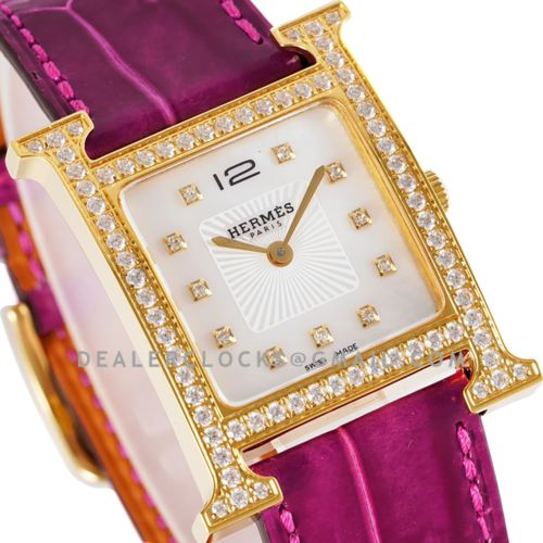 Heure H 26mm MOP Dial in Yellow Gold on Pink Leather Strap