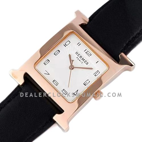 Heure H 26mm White Dial in Rose Gold on Black Leather Strap