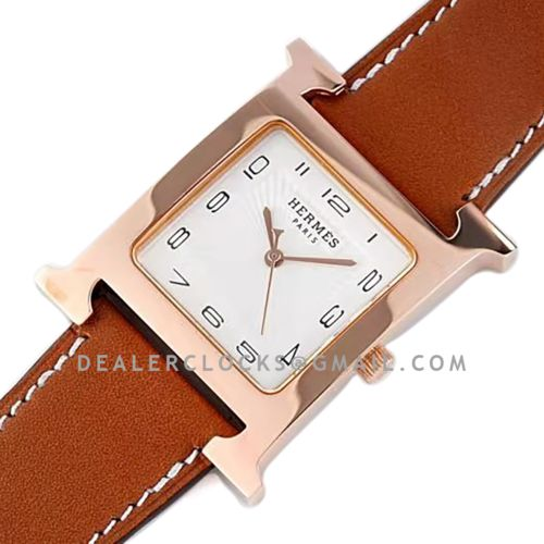 Heure H 26mm White Dial in Rose Gold on Brown Leather Strap