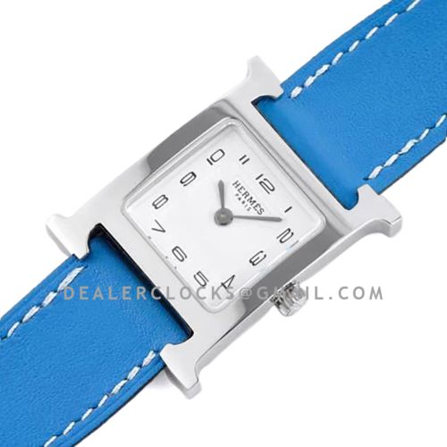 Heure H 26mm White Dial in Steel on Blue Leather Strap