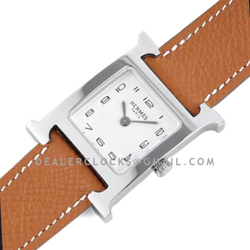 Heure H 26mm White Dial in Steel on Brown Epsom Leather Strap