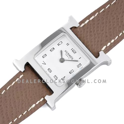 Heure H 26mm White Dial in Steel on Dark Brown Epsom Leather Strap