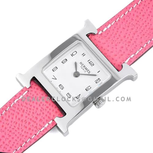 Heure H 26mm White Dial in Steel on Light Pink Epsom Leather Strap