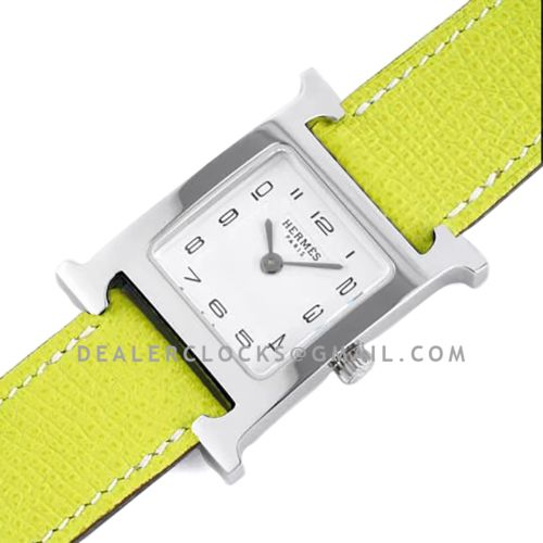 Heure H 26mm White Dial in Steel on Neon Green Epsom Leather Strap