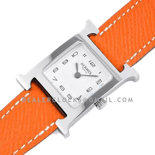 Heure H 26mm White Dial in Steel on Orange Epsom Leather Strap