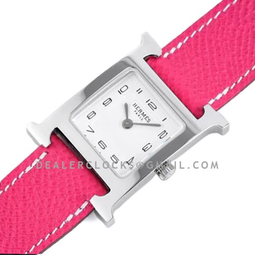 Heure H 26mm White Dial in Steel on Pink Epsom Leather Strap