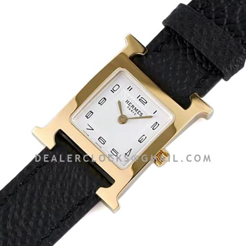 Heure H 26mm White Dial in Yellow Gold on Black Epsom Leather Strap