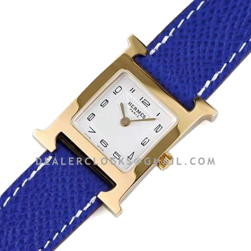 Heure H 26mm White Dial in Yellow Gold on Blue Epsom Leather Strap