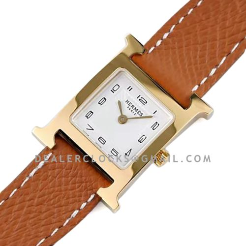 Heure H 26mm White Dial in Yellow Gold on Brown Epsom Leather Strap