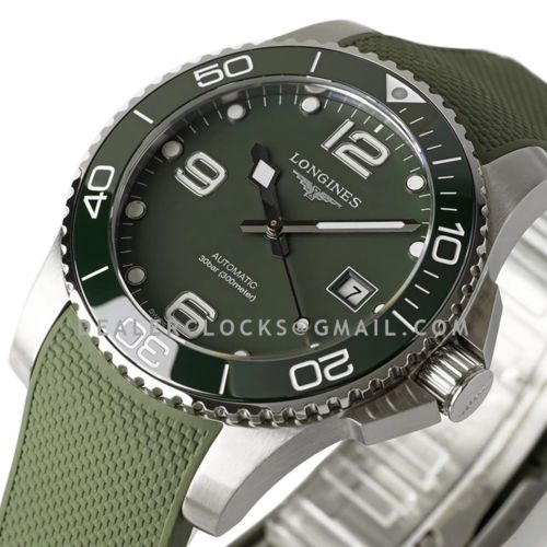 HydroConquest Boutique Edition Green Dial on Rubber Strap
