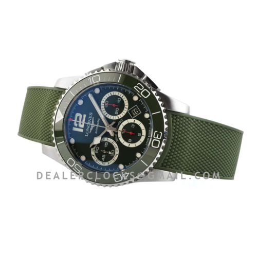Hydroconquest Green Dial on Rubber Strap