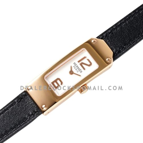 Kelly 2 White Dial in Rose Gold on Black Leather Strap