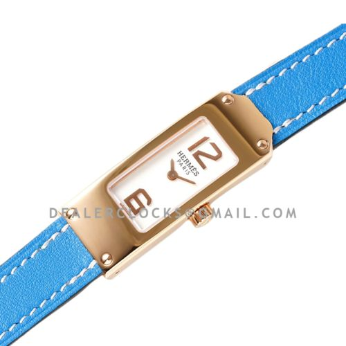 Kelly 2 White Dial in Rose Gold on Blue Leather Strap