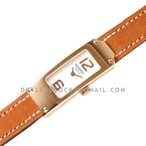 Kelly 2 White Dial in Rose Gold on Brown Leather Strap