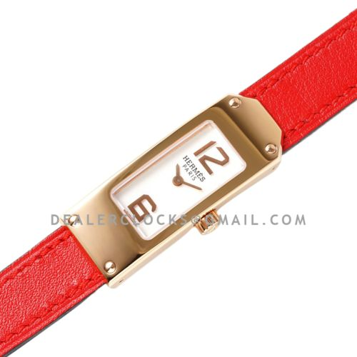 Kelly 2 White Dial in Rose Gold on Red Leather Strap