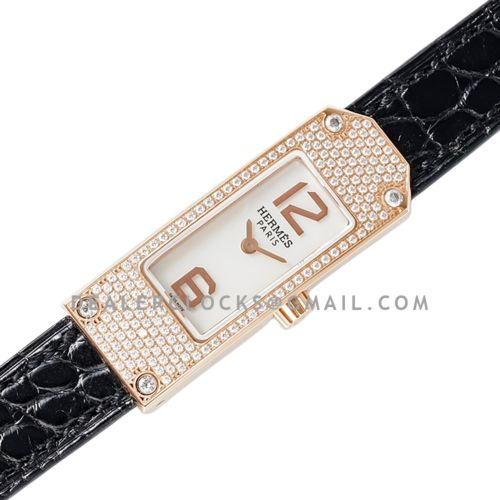 Kelly 2 White Dial in Rose Gold with Diamond Paved Bezel on Black Leather Strap