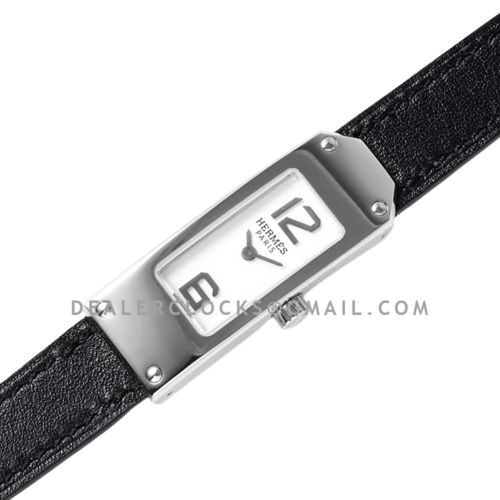 Kelly 2 White Dial in Steel on Black Leather Strap Double Tour