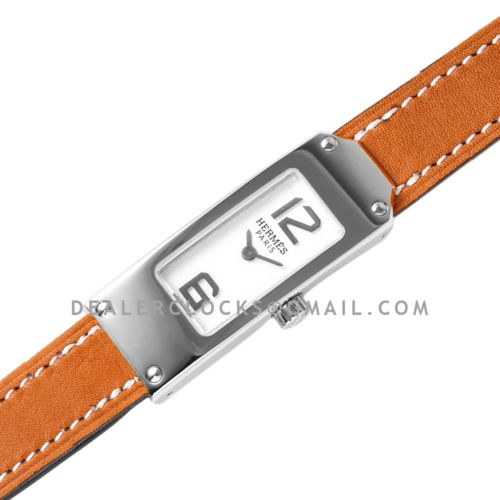 Kelly 2 White Dial in Steel on Brown Leather Strap Double Tour