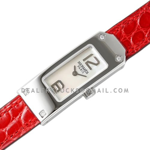 Kelly 2 White Dial in Steel on Red Alligator Strap